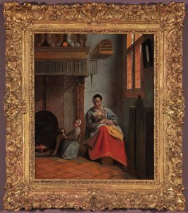 Woman with Children in an Interior