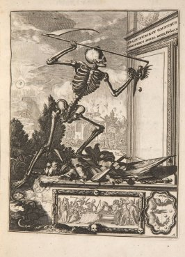 Plate 1 opposite page 18 in the book La manière de bien se préparer à la mort …by M. de Chertablon (Antwerp: George Gallet, 1700)