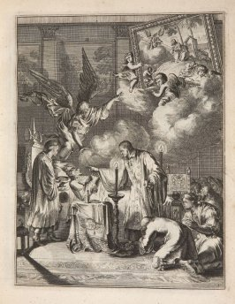 Plate 19 opposite page 40 in the book La manière de bien se préparer à la mort …by M. de Chertablon (Antwerp: George Gallet, 1700)