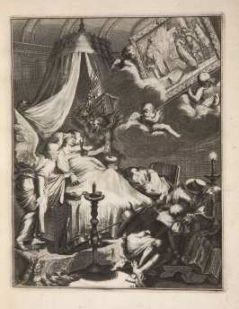 Plate 23 opposite page 44 in the book La manière de bien se préparer à la mort …by M. de Chertablon (Antwerp: George Gallet, 1700)