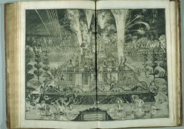 Vuurwerk [fireworks]…, plate at p. 67 in the book Relation du voyage de sa Majesté britannique en Hollande (The Hague: Arnout Leers, 1692)