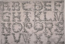 Alphabet of Capital Roman letters with metaphorical ornaments