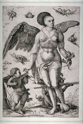 Venus accompanied by Cupid playing the lute