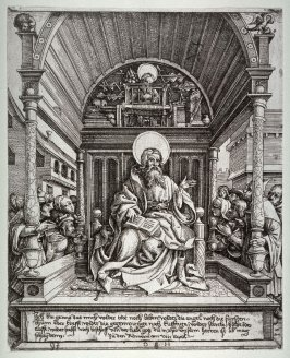St. Paul seated in a chair preaching