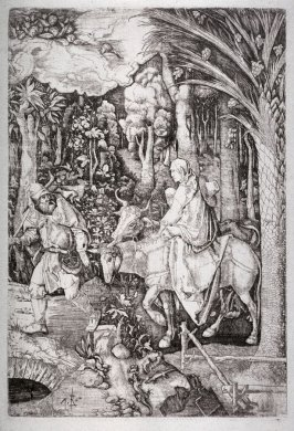 "Reverse copy of Durer's ""The Flight into Egypt"""