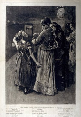 """GONE'  Scene in a London Railway Sytation - Departure of Emigrants for Liverpool - from Harper's Weekly, (March 11, 1876), pp. 208-209"
