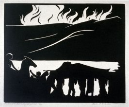 Ring of the Nibelung 10 woodcuts: Death and Burial of Siegfried