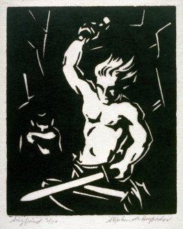 Ring of the Nibelung 10 woodcuts: Siegfried Wielding His Sword