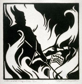 Ring of the Nibelung 10 woodcuts: Wotan and the Magic Fire