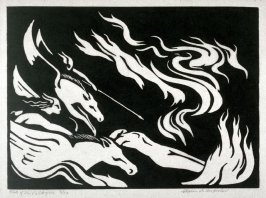 Ring of the Nibelung 10 wood cuts: Ride of the Valkyrie