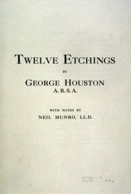 "Cover of ""Twelve Etchings By George Houston"", with notes by Neil Munro"