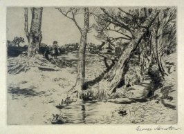 [landscape, with a tree lined stream at right]