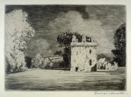[landscape with an old castle keep]