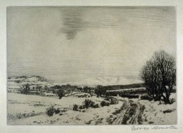 [winter landscape with road and trees at right]