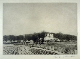 [landscape with a castle ruin and farmbuildings in the background]