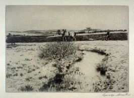 [landscape with a plowing farmer and his horse]