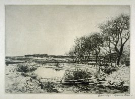 [landscape with a river; trees and a domed hut at right]