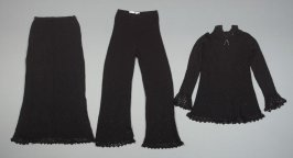 Ensemble: sweater, trousers, and skirt