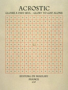 Acrostic by Eustorg de Beaulieu, plate 4 in the portfolio Shaped Poetry (San Francisco: Arion Press, 1981)