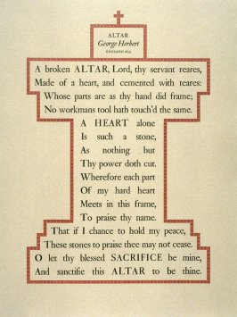 Altar by George Herbert, plate 5 in the portfolio Shaped Poetry (San Francisco: Arion Press, 1981)