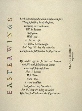 Easter Wings by George Herbert, plate 6 in the portfolio Shaped Poetry (San Francisco: Arion Press, 1981)