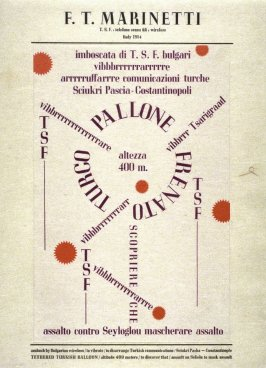 Ballooon by F.T. Marinetti, plate 14 in the portfolio Shaped Poetry (San Francisco: Arion Press, 1981)