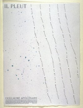 It Is Raining by Guillaume Apollinaire, translation by Glenn Todd and Gerald Reddan, plate 16 in the portfolio Shaped Poetry (San Francisco: Arion Press, 1981)