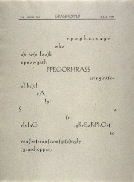 Grasshopper by E. E. Cummings, plate 20 in the portfolio Shaped Poetry (San Francisco: Arion Press, 1981)