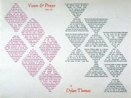 Vision & Prayer by Dylan Thomas, plate 21 in the portfolio Shaped Poetry (San Francisco: Arion Press, 1981)