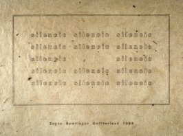 Silence by Eugen Gomringer, plate 22 in the portfolio Shaped Poetry (San Francisco: Arion Press, 1981)