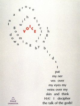 Voice by Philip Lamantia, plate 25 in the portfolio Shaped Poetry (San Francisco: Arion Press, 1981)