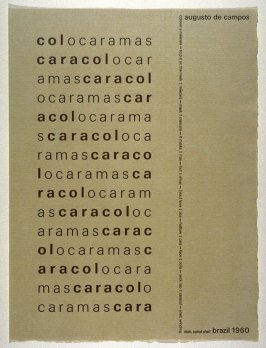 Caracol by Augusto de Campos, plate 26 in the portfolio Shaped Poetry (San Francisco: Arion Press, 1981)