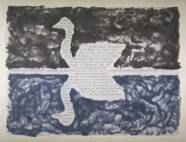 Swan and Shadow by John Hollander, plate 29 in the portfolio Shaped Poetry (San Francisco: Arion Press, 1981)