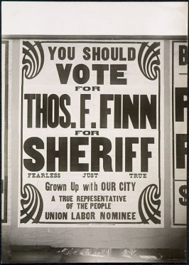 Vote for Thos. Finn for Sheriff Billboard