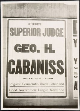 Geo. H. Cabaniss for Superior Judge Billboard