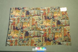 Printed silk fragment- Mayflower Pilgrims