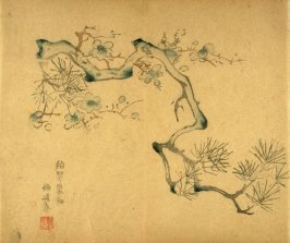 Plum and Pine Branches (growing from left), No.8 from the Volume on Plums - from: The Treatise on Calligraphy and Painting of the Ten Bamboo Studio