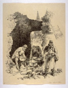 A Kitchen in the Ruins (Soissons, Feb. 1915), number 18 from The War Sketches of Charles Huard