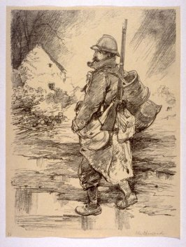 """Un Poilu"" on the Road from Soissons to Venizel (Jan. 1915), number 16 from The War Sketches of Charles Huard"