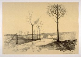 Battery on a Road on Artois (Dec. 1914), number 7 from The War Sketches of Charles Huard