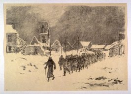 On the Way to the Trenches (Pervyse, Dec. 1914), number 9 from The War Sketches of Charles Huard