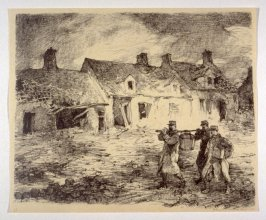 A Street at Nieuport (Dec. 1914), number 11 from The War Sketches of Charles Huard