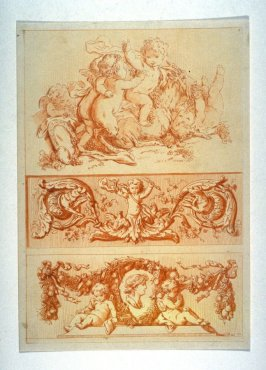 Page of Decorative panels and cupids playing with a goat