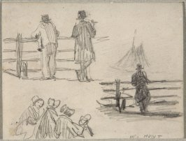Untitled sketch (Men at Fence, Women Sitting)