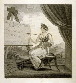 Untitled (a seated woman painting the title), the title page of the book, Mon passe-tems dédié à moi-même, vol.1