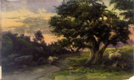 Landscape (Sunset with sheep)ˇ