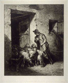 Sheep in stable with Shepherd