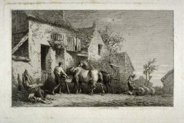 (Farmyard scene with man and woman feeding animals)