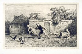 Farmyard scene- peasants and their child.
