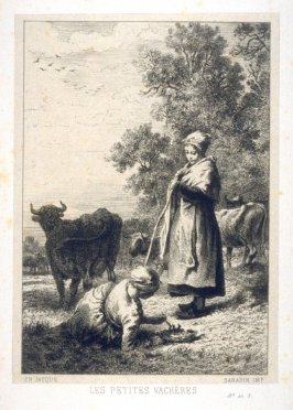 Two young girls herd the cows.